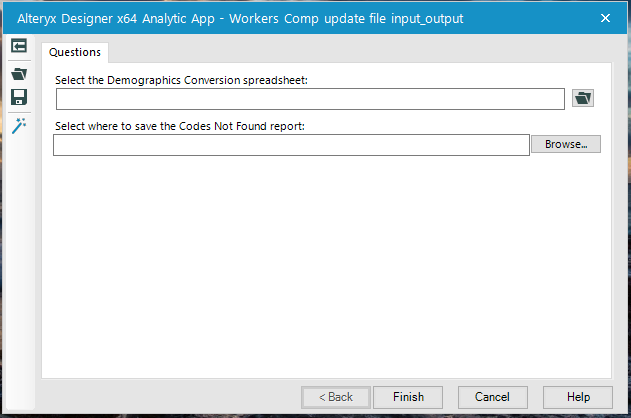 Alteryx Designer x64 Analytic App - Workers Comp update file inpute