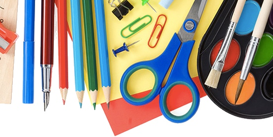 scissors, pencils, and miscellaneous art supplies